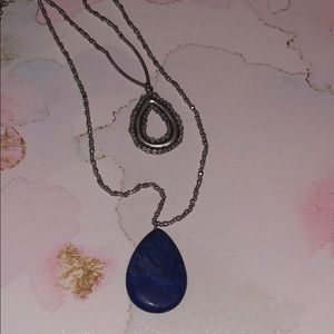 "JJill 42"" necklace silver and blue"